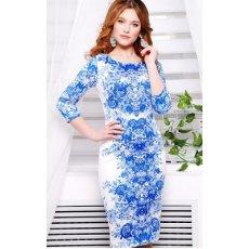 Розы синие платье Лоя-1 д/р NCG9887
