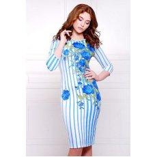 Розы полоска платье Лоя-1 д/р NCG10641