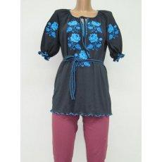Туника Голубая роза вышивка женская интерлок NCL630