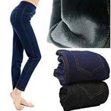 Лосины под джинс на меху с карманами